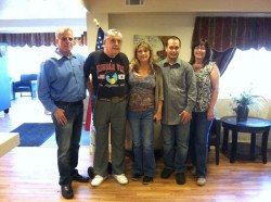 With USMC Retired, Melissa Adams, USMC Greg Brannon and Cyndi Saxton at Veterans Village. We are so honored.;