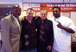 Look who dropped by Veterans Village today! Here's Yusef Sudah, Eric Wheeler, Arnold Stalk, PhD and Hasim Rahman, former three-time World Heavyweight Boxing Champion.;